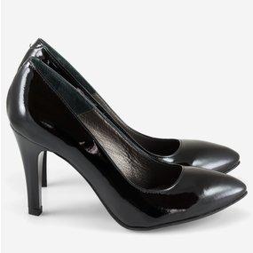 Pantofi dama Stiletto negri din piele naturala lacuita Elly