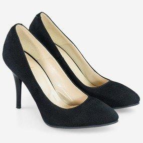 Pantofi dama Stilleto piele intoarsa neagra Fabianna