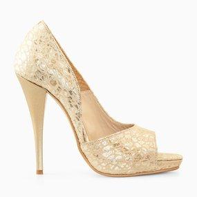 Pantofi de ocazaie din piele naturala aurie Lady