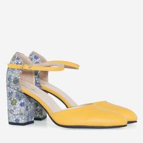 Pantofi decupati din piele naturala galbena Lily