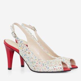 Pantofi decupati din piele naturala imprimata Rosalinda