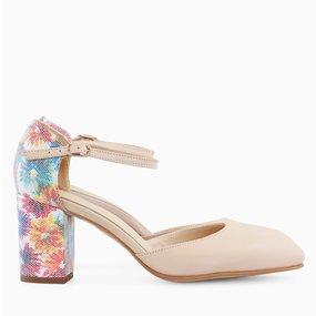 Pantofi decupati din piele naturala nude Claudie