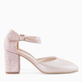 Pantofi decupati din piele naturala sampanie Ilana