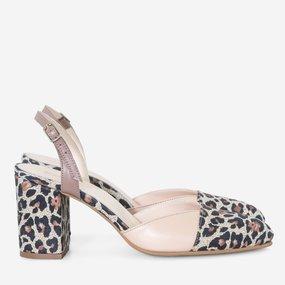 Pantofi decupati din piele naturala somon Leonora