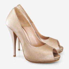 Pantofi din piele naturala bronz Thais