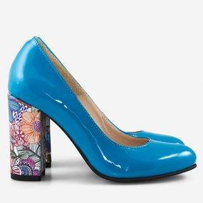 Pantofi din piele naturala cu toc gros Cordoba