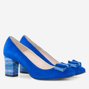 Pantofi office din piele albastra Camy