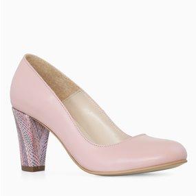 Pantofi office din piele naturala roz Claire