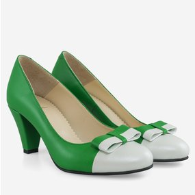 Pantofi office din piele naturala verde cu alb Ceylon