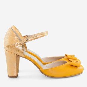 Pantofi retro din piele naturala galbena Bonita
