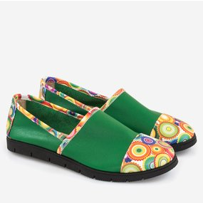 Pantofi sport din piele naturala verde Kyoto