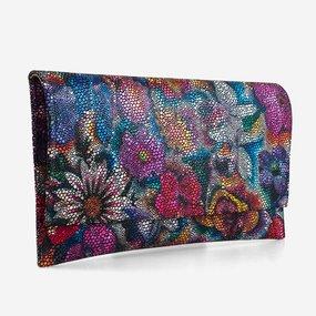 Plic din piele naturala cu flori multicolore