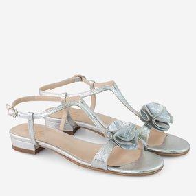 Sandale dama  argintii din piele naturala decorate cu pampon Tiffany