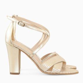 Sandale aurii cu toc din piele naturala Padme