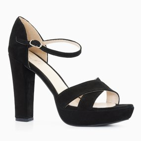 Sandale cu platforma si toc din piele intoarsa neagra Annika