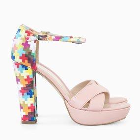 Sandale cu platforma si toc din piele naturala roz Charlene