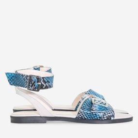 Sandale cu talpa joasa din piele naturala albastra Daya