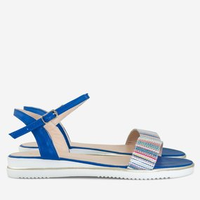 Sandale cu talpa joasa din piele naturala albastra Nova