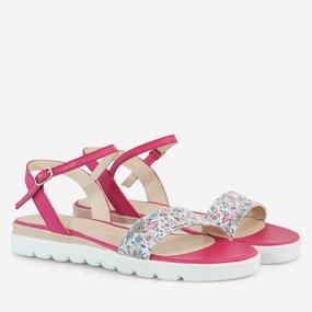 Sandale cu talpa joasa din piele naturala fuchsia Amy