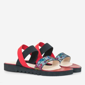 Sandale cu talpa joasa din piele naturala rosie Candy