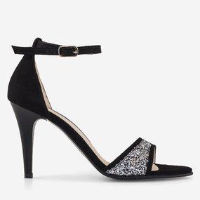 Sandale cu toc din piele intoarsa cu glitter Loulou