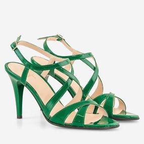 Sandale cu toc din piele lacuita verde Hanako