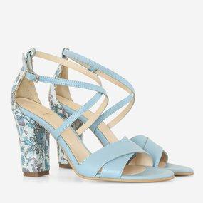 Sandale cu toc din piele naturala bleu Filipa