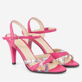 Sandale cu toc din piele naturala fuchsia Milana