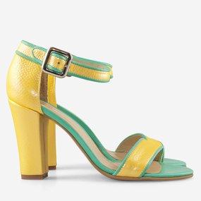 Sandale cu toc din piele naturala galben cu turqoise Lizette