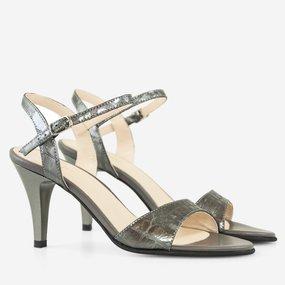 Sandale cu toc din piele naturala gri Ellis