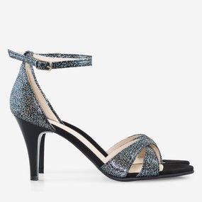 Sandale cu toc din piele naturala imprimata Angelique
