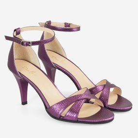 Sandale cu toc din piele naturala mov Gaetana