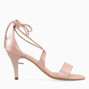 Sandale cu toc din piele naturala roz Monroe
