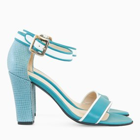 Sandale cu toc din piele naturala turqoise Clara