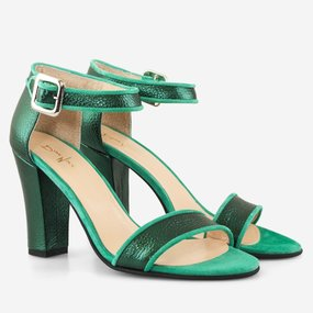 Sandale cu toc din piele naturala verde Holiday