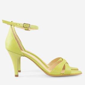 Sandale cu toc din piele naturala verde lime Viviane