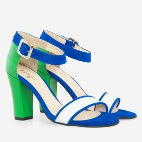 Sandale dama albastru cu verde Izara