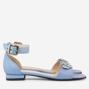 Sandale dama cu talpa joasa din piele naturala bleu Aiza