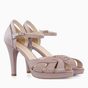 Sandale dama cu toc din piele naturala grej Ellison