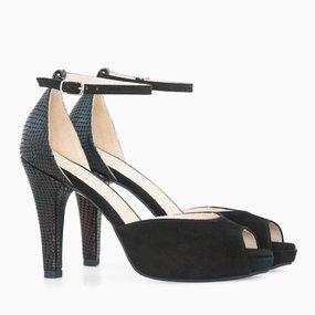 Sandale dama cu toc din piele naturala neagra Sara