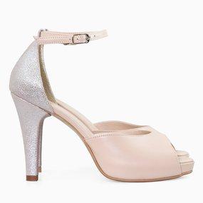 Sandale dama cu toc din piele naturala nude Dahlia