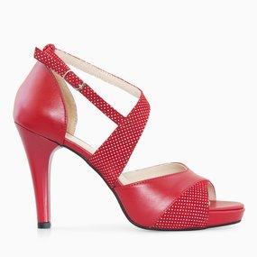 Sandale dama cu toc din piele naturala rosie Corinna