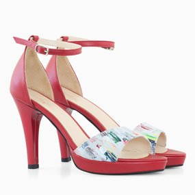 Sandale dama cu toc din piele naturala rosie Florence