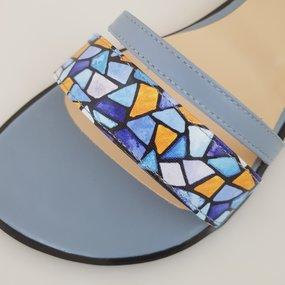 Sandale din piele naturala bleu Nova