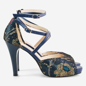 Sandale din piele naturala bleumarin Cairo