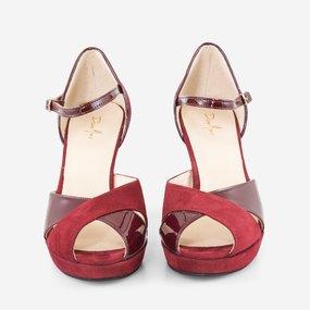 Sandale din piele naturala bordo Becca