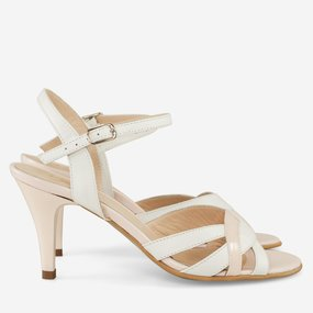 Sandale din piele naturala nude cu alb Dakota