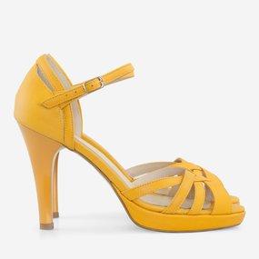 Sandale galbene din piele naturala Antonella