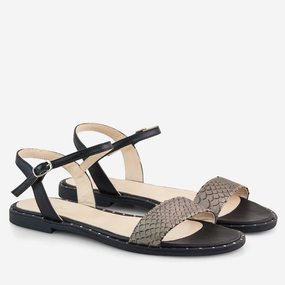 Sandale negre cu talpa joasa din piele naturala Luetta