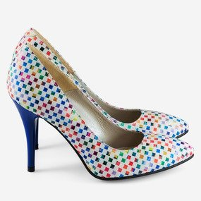 Stiletto cu patratele multicolore Sparkle